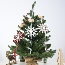 Christmas Wooden Carving Snowflake Pendant Baubles Wood Crafts for Xmas Tree Christmas Party Hanging Decoration Ornaments цены онлайн