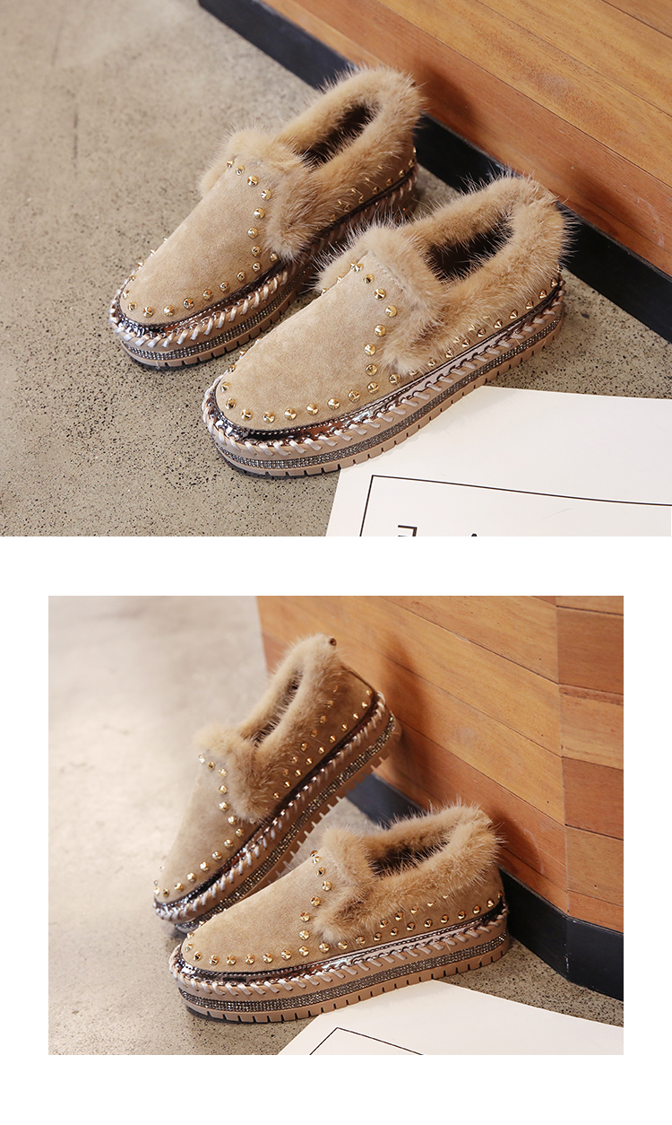 2019 Winter New Women Fur Loafers Comfortable Casual Platform Sneakers 76