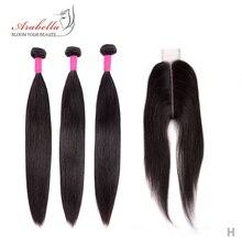 閉鎖ペルーストレート髪のバンドル 2*6 閉鎖レミー人間の髪織り Arabella 閉鎖バンドル
