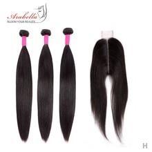 Pacotes com fechamento peruano feixes de cabelo reto com 2*6 fechamento remy tecer cabelo humano arabella encerramento com pacotes