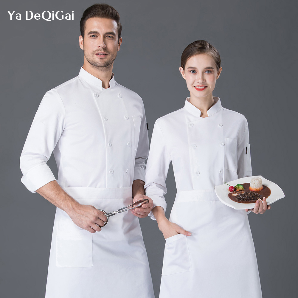 Unisex Kitchen Cooking Chef Jacket Restaurant Uniforms Shirts Double-breasted Work Clothes Men Wholesale White Chef Coat Woman