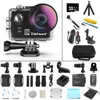 Yarber 8K WIFI kamera sportowa action 20MP HD 40M wodoodporny 4K Action Cam aplikację sterowanie głosowe Bluetooth kask rowerowy kamera wideo