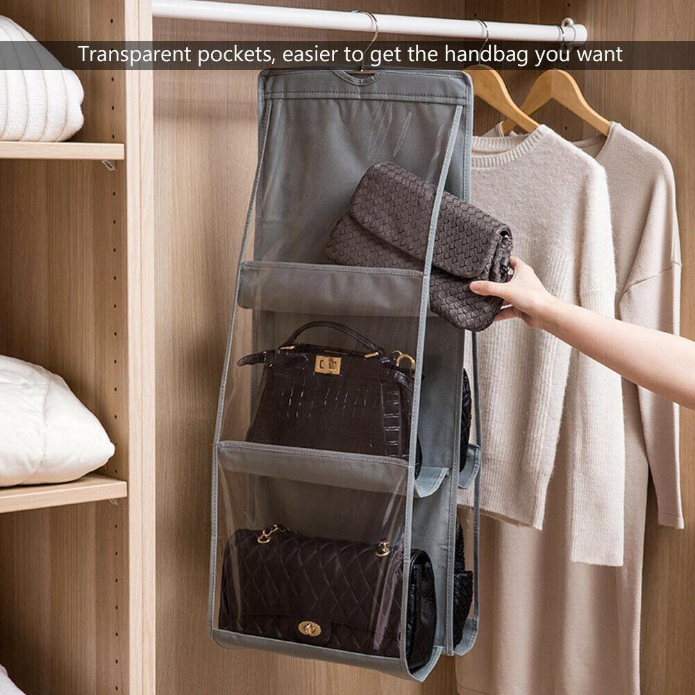 Hf577a92b9fd34173885b9e587a44bed4Z - 6 Pocket Foldable Hanging Bag 3 Layers Folding Shelf Bag Purse Handbag Organizer Door Sundry Pocket Hanger Storage Closet Hanger
