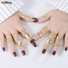 925 Sterling Silver Big Hollow A-Z Letter Adjustable Opening Gold Rings Initials Name Alphabet Female Jewelry