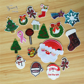 Hot sale Christmas Theme style Embroidery Patch Iron On Badges Fabric Cute Sew Sequins Stickers DIY Clothing Jeans Accessories image