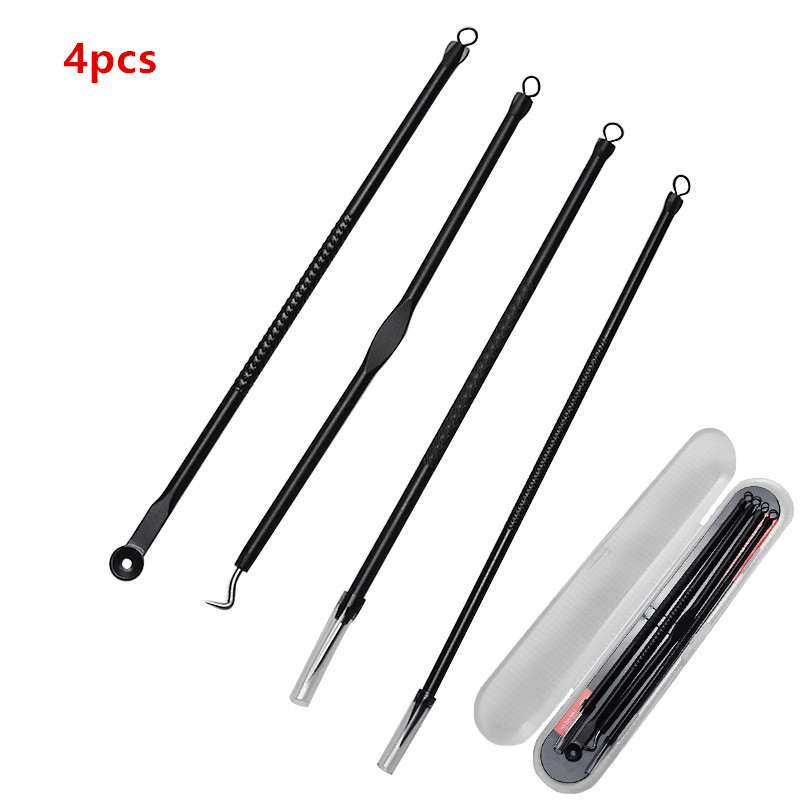 4PCS Blackhead Extractor Cleaner Acne Blemish Remover Needles Set Stainless Black Spots Comedone Face Pore Facial Cleanser Tools