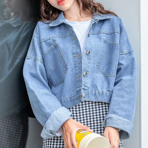 Women Short Denim Jacket Korean Style Back Button Loose Jeans Jacket Blue Long Sleeve Single Breasted Spring Short Jeans Jackets