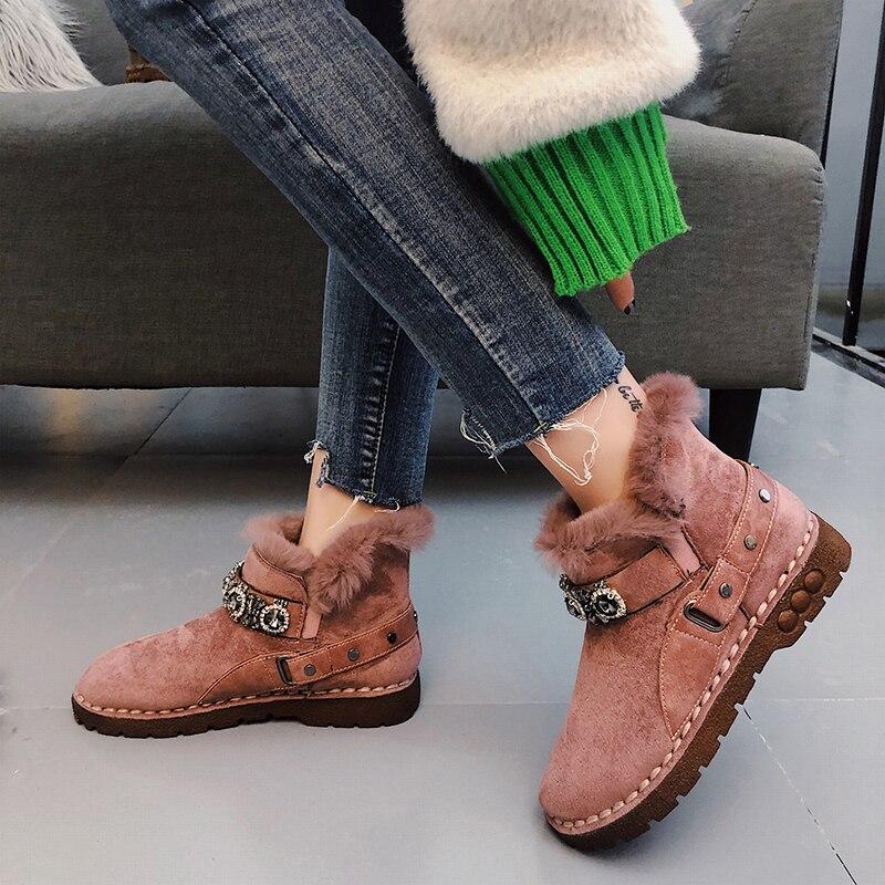 Flat bottom plus velvet warm cotton shoes snow boots women short tube 2019 platform casual boots winter out fashion short boots 36