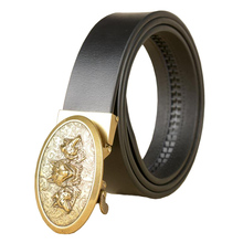 Western Wolf Head Design Leather Gold Sliver Auto Buckle Men Belt Fashion Business Jeans Causal Pants