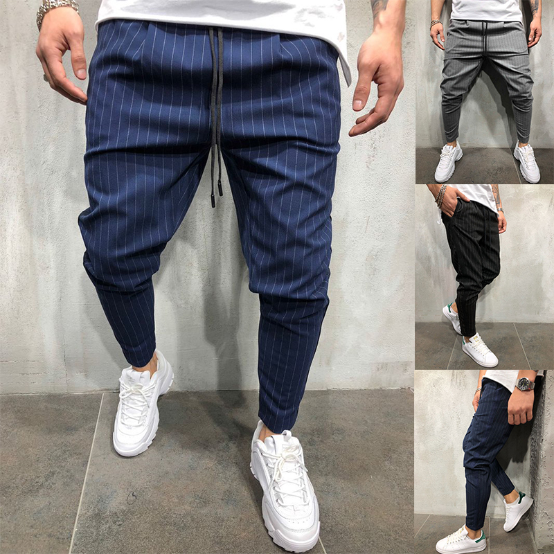 CHANWELL Streetwear Men Pants 2019 Fashion Pinstripe Pencil Pants Hip Hop Sweatpants Joggers Men Trousers Pantalones Hombre