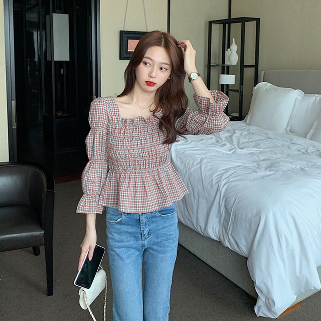 Liva Girl Retro Shirt Women Square Collar Blouse Plaid Printed Flare Sleeves Slim Waist All-Match Picture Color 2xl Camisa 6