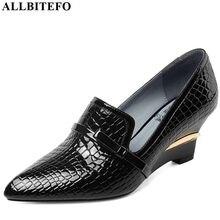 ALLBITEFO completo de cuero genuino cuñas de tacón de fiesta zapatos de mujer de piel de serpiente tacones altos de oficina zapatos de mujer Zapatos de tacón alto
