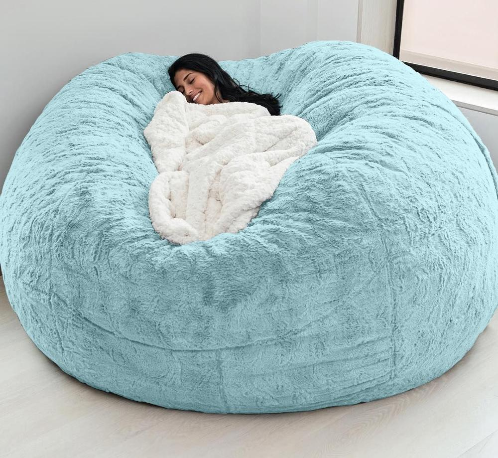 Dropshipping 7ft Giant Fur Bean Bag Cover Living Room Furniture Big Round Soft Fluffy Faux Fur BeanBag Lazy Sofa Bed Cover 3