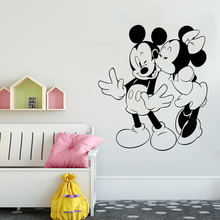 Disney Mickey And Minnie Mouse Kissing Wall Stickers Cartoon PVC Sticker Kids Room bedroom accessories Decals 58 x 52