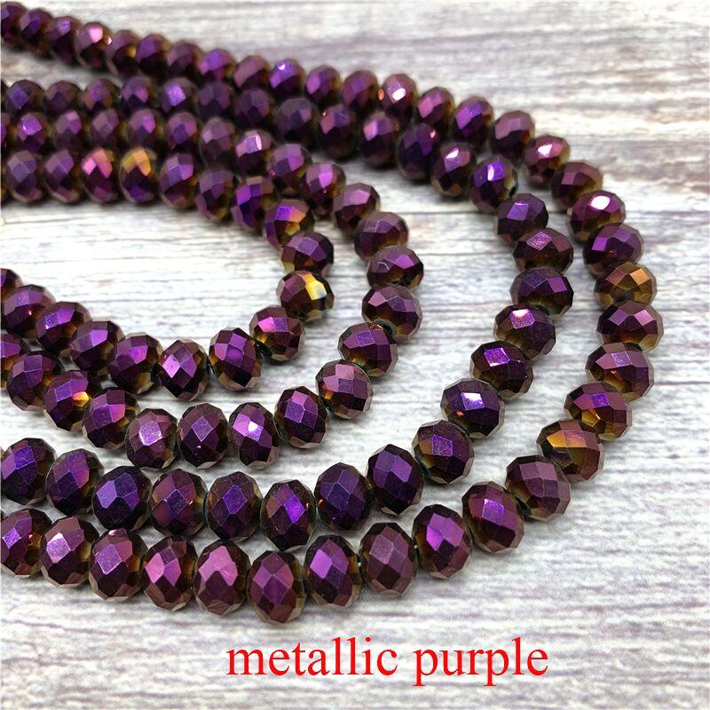 2X3/3X4/4X6/6X8 мм хрустальные бусины AB разноцветные стеклянные бусины Sapcer для ювелирных изделий ручное кольцо Ожерелье Изготовление DIY - Цвет: Metallic purple