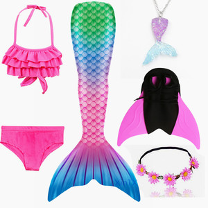 Image 5 - 女の子人魚の尾ブラジャーショーツ monofin 水着コスプレドレス子供子供マーメイドテール服水着フリッパー衣装