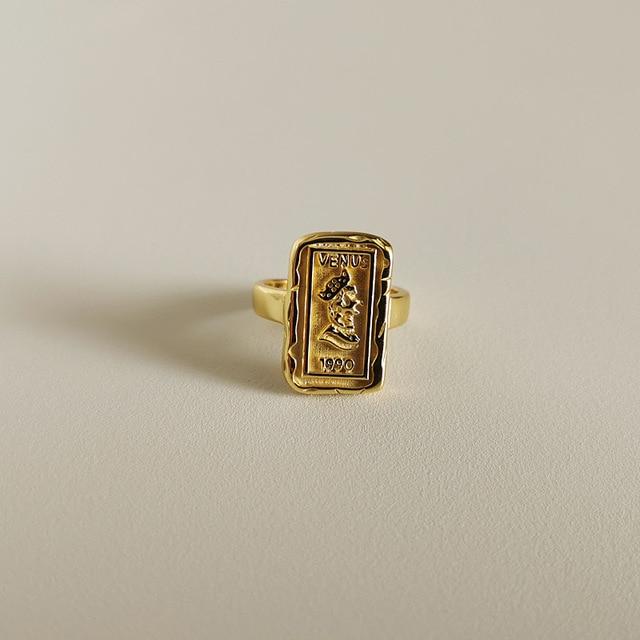 Фото женское прямоугольное кольцо louleur золотое 925 пробы серебряное
