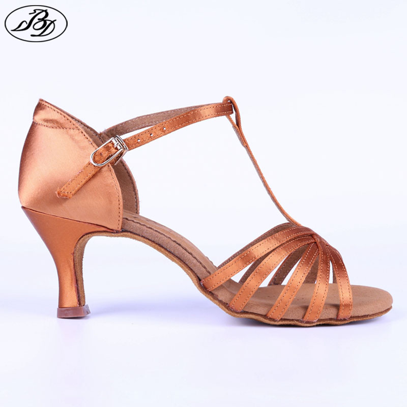New Women Latin BD Dance Shoe 217 Satin L Ladies Latin Dancing Shoes Sandal High Heel Soft Sole Tango Flared Heel Metal Buckle
