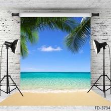 Praia de verão fotografia fundos céu azul oceano palm ondas vinil foto backdrops para o casamento crianças retrato estúdio foto