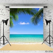 Summer Beach Photography Backgrounds Blue Sky Ocean Palm Waves Vinyl Photo Backdrops for Wedding Children Portrait Photo Studio