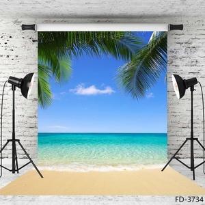Image 1 - Summer Beach Photography Backgrounds Blue Sky Ocean Palm Waves Vinyl Photo Backdrops for Wedding Children Portrait Photo Studio