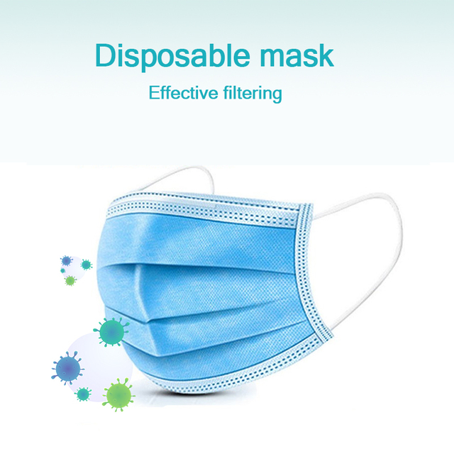 10/20/50/100 PCS Fast Shipping 3-Layer Disposable Face Mask Anti-Pollution Safety Dust Filter Mask Non-woven Meltblown Masks 5