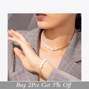 Image 2 - ENFASHION Natural Pearl Link Chain Bracelet Female Gold Color Stainless Steel Femme Bracelets For Women Fashion Jewelry B192069