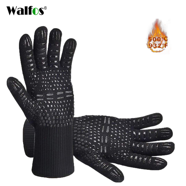 WALFOS  Heat Resistant BBQ grill Gloves  Premium Insulated Durable Fireproof For Cooking Baking Grilling Oven Mitts
