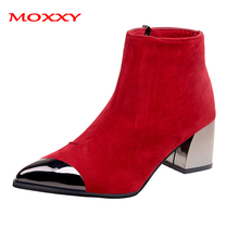 2019 New Ladies Pointed Toe Sexy Boots Winter Yellow Black Red Ankle Boots Women Shoes Suede Chunky Heel Boots Platform Glitter ladies suede comfort low heel ankle boots fashion zipper pointed toe fall winter bootie black red orange