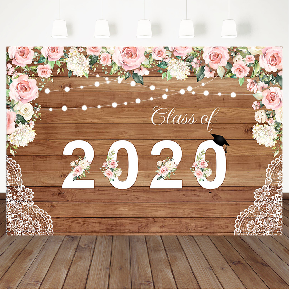 Class of 2020 Graduation Backdrop Rustic Wood Board Party Banner Photography Background Pink Floral Photo Studio Booth Props