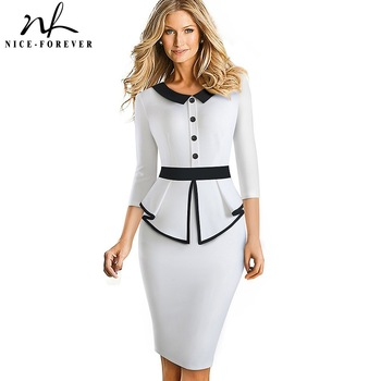 Nice-forever Elegant Contrast Color Patchwork Office with Botton Ruffle vestidos Business Formal Winter Bodycon Women Dress B558 tie neck contrast binding ruffle dress