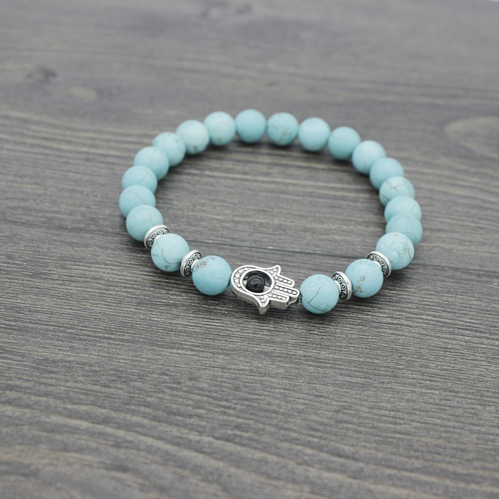 Hamasa hand Eye Natural Stone Beads Bracelets For Women Men Classic Elastic Hand Jewelry DropShipping in Charm Bracelets from Jewelry Accessories