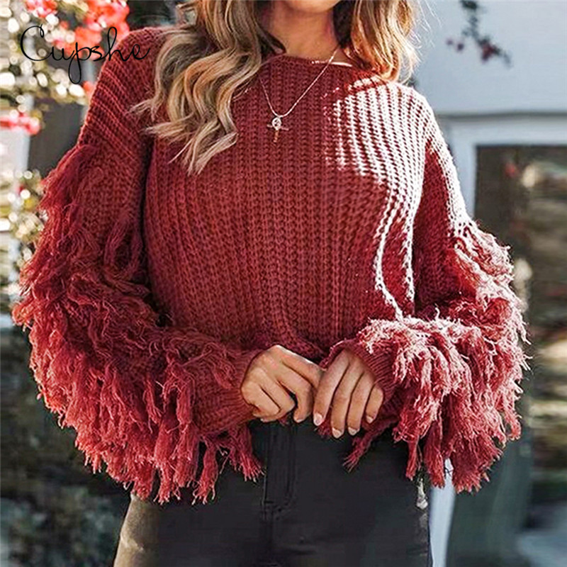 CUPSHE Red Sweater With Fringe Sleeves Women Sexy Loose Long Sleeve Knitted Jumpers 2019 Autumn Winter Female Pullovers