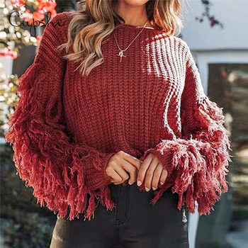 red sweater fringe sleeves women loose sweater