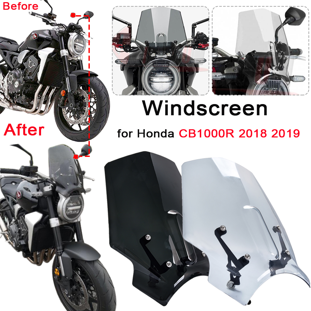 For Honda CB1000R 2018 2019 Motorcycle Windscreen Windshield Deflector CB 1000 R CB 1000R CB650R 2019 Shield Screen With Bracket