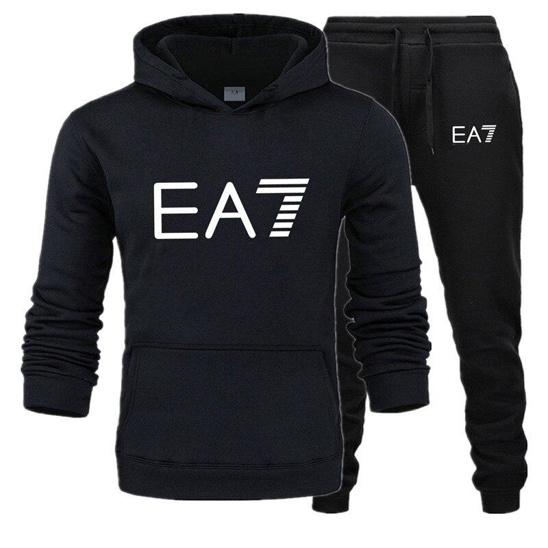 New Fashion Brand Sweatshirt Tracksuit EA7 Prints Thermal Men Sports Sets  Thick Hoodie+Pants Sporting Jogger Suits Men Sets S