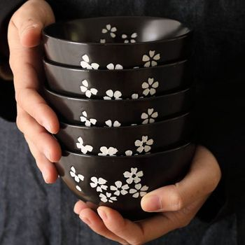 Japanese Cherry Blossoms Tableware 4.5 Inch Rice Bowl Ceramic Wind Exquisite Restaurants Commercial Creative Personality Dinner