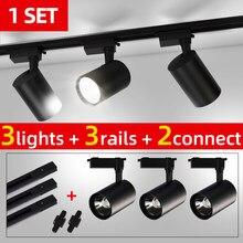 Ensemble complet Led éclairage sur Rail COB lampe sur Rail 20W 30W 40W Rail éclairage en aluminium Spot luminaires pour la maison cuisine magasin de vêtements