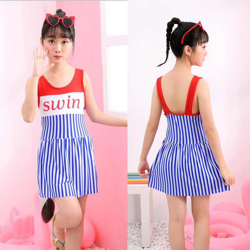Girl'S Bathing Suit Women's 2019 New Style Korean-style Students 6-13-Year-Old One-piece Boxers CHILDREN'S Swimsuit