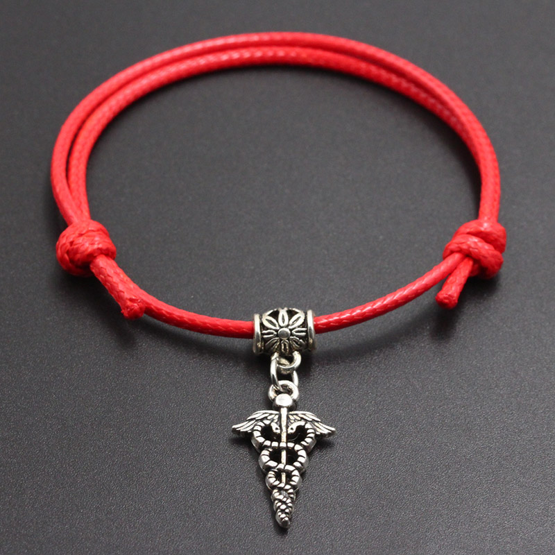 New Snake & Wings Pendants Red Thread String Bracelet Lucky Handmade Rope Charm Bracelet for Women Men Lover Couple Jewelry