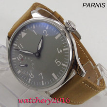 44mm PARNIS Gray Sterile Dial Leather strap Stainless steel Case Luxury Brand 17 Jewels 6497 Hand Winding Movement mens Watch
