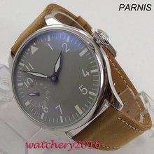 44mm PARNIS szary sterylny Dial skórzany pasek opakowanie ze stali nierdzewnej luksusowej marki 17 klejnotów 6497 ręczne nakręcanie ruch mężczyzna zegarka