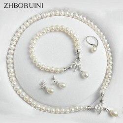 ZHBORUINI اللؤلؤ والمجوهرات مجموعات المياه العذبة الطبيعية 925 فضة مجوهرات القوس اللؤلؤ قلادة أقراط سوار للنساء هدية