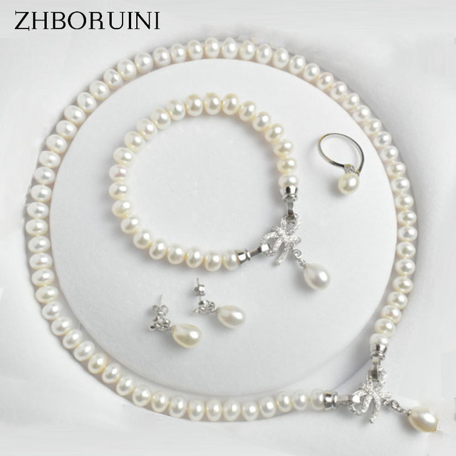 ZHBORUINI Pearl Jewelry Sets Natural Freshwater Jewelry Bow 925 Sterling Silver Pearl Necklace Earrings Bracelet For Women Gift