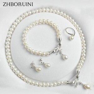 Image 1 - ZHBORUINI ensemble de bijoux en perles, deau douce naturelle, nœuds, en argent Sterling 925, collier en perles, boucles doreilles, Bracelet pour femmes, idée cadeau