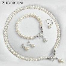 Zhboruiniパールジュエリーセット天然淡水宝石の弓 925 スターリングシルバー真珠のネックレスのイヤリング女性のギフト