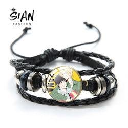 SIAN Japanese Anime BANANA FISH Bracelet Art Photo Glass Dome Handmade Cartoon Black Multilayer Leather Bracelet For Kids Gifts