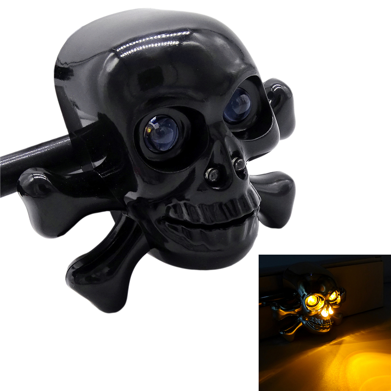 1 Pair Universal Motorcycle Skull LED Turn Signal Lights Indicators Chrome Cruiser Chopper Cafe Racer Atv Scooter