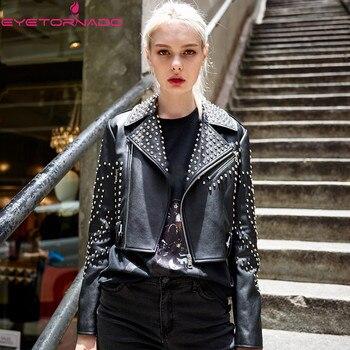Women Rivet Beading Faux Leather PU Jacket Autumn Pockets Biker Motorcycle Zipper Casual Vintage Short Black Basic Punk Jacket