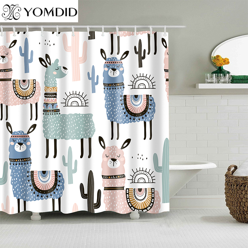 รูปแบบ Alpaca ผ้าม่านกันน้ำม่านอาบน้ำโพลีเอสเตอร์การ์ตูน Bath หน้าจอพิมพ์ผ้าม่านสำหรับห้องน้ำ Home ...